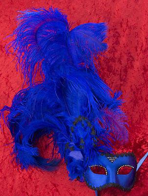 Mask Venice Colombine satin in Feathers ostrich blue Paper mache 22430