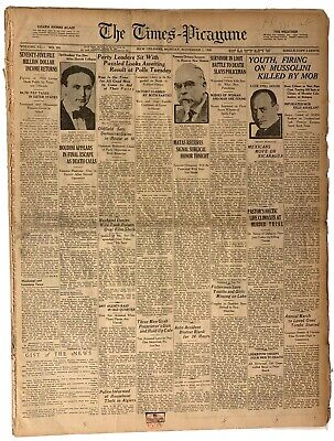 HOUDINI's Death Nov 1, 1926 w Photo ORIGINAL full newspaper HISTORIC RARE