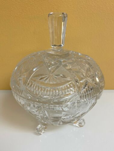 Gorgeous Vintage Crystal Glass Bowl with Lid