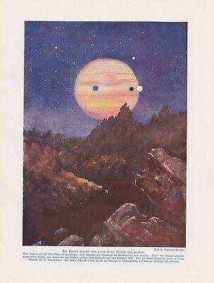 Der Planet Jupiter Von einem seiner Monde aus gesehen   Farbdruck von 1912