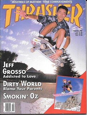3924d8495c Thrasher magazine February 1990 Jeff Grosso Minstrels of Mayhem skateboard  VG