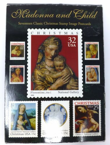 Vintage 1998 Madonna and Child 17 Classic Christmas Stamp Image Postcards Set