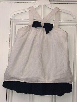 Swiss Girl Outfit (Gymboree Girls 2pc Outfit White Stripe Shirt Blue Swiss Dot Skirt Sz)