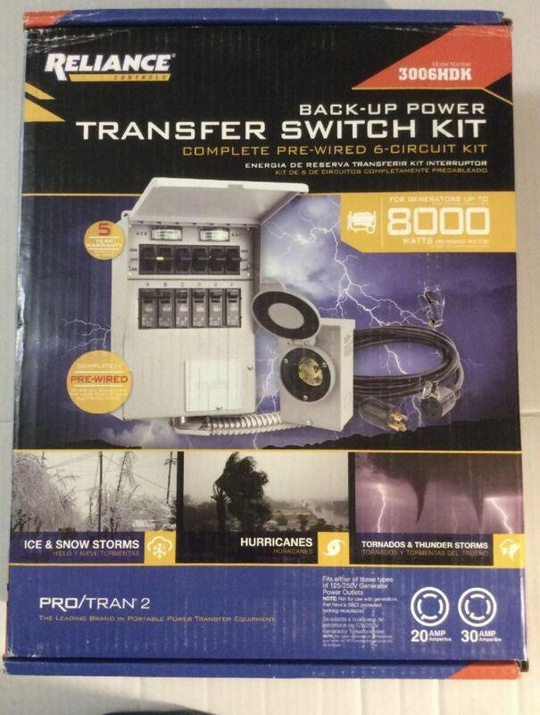 Reliance Controls 3006HDK Back-Up Power 6-Circuit Transfer Switch Kit - NEW!