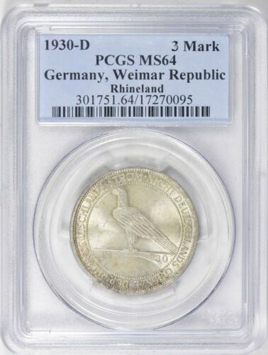 Germany 1930-D 3 Mark Liberation of the Rhineland PCGS 64 Silver Coin