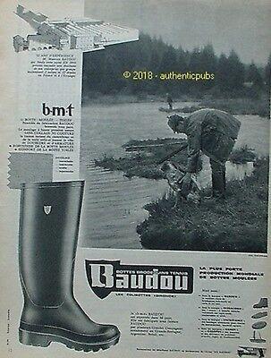 PUBLICITE BAUDOU  BOTTES BRODEQUINS TENNIS CHIEN CHASSE CHASSEUR DE 1960 AD PUB