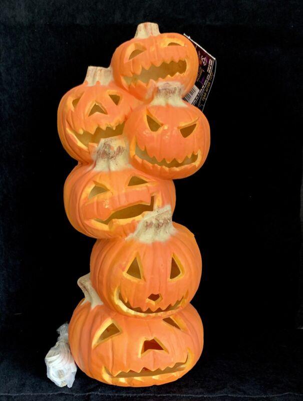 "Trendsetter Foam Halloween Jack O Lantern Lanterns Pumpkin 18"" Stack Tower Light"