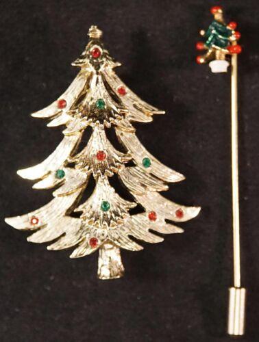 Marked Tanger Christmas Tree Pin / Brooch and Xmas Tree Stick Pin