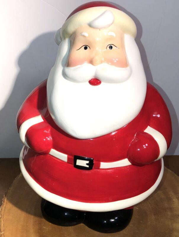Santa Claus Cookie Jar Ceramic Colorful Hand Painted Vintage Christmas