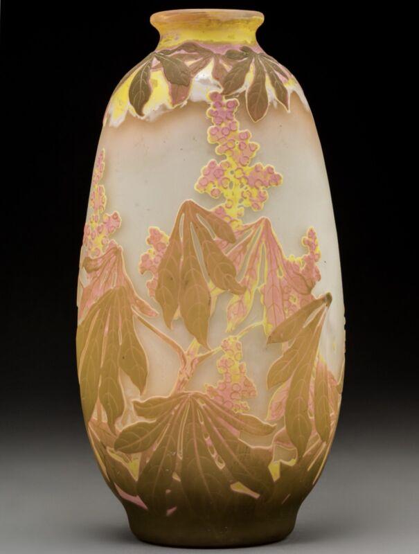 Large Art Nouveau Emile Galle Four Color Botanicals Vase. Circa 1905
