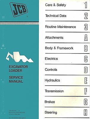 Jcb Excavator Loader Service Manual Pub. No. 98033200