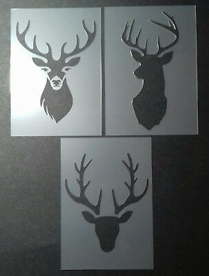 Shabby Chic Stencil A7 (105x74mm) Stag Deer Heads mini selection Plastic sheet