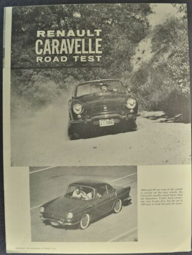 1960 Renault Caravelle Road Test Brochure Convertible Coupe Excellent Original