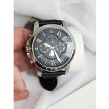 NEW Fossil Grant Black Dial Chronograph Leather Mens Watch FS5151
