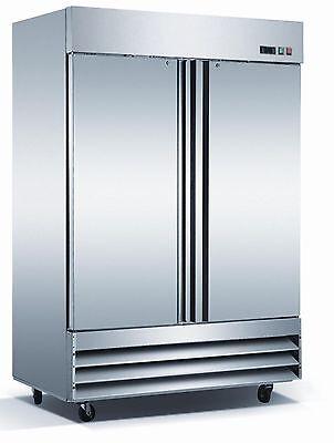 54 Commercial Upright Reach In 2 Door Stainless Steel Restaurant Freezer