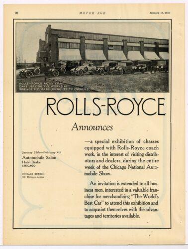 1922 Rolls Royce Auto Ad: Springfield Massachusetts Factory Pic w/ Cars Leaving