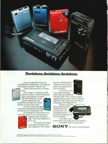 Sony Walkman Decisions Portable Personal Radio Cassette 1982 Vintage Print Ad