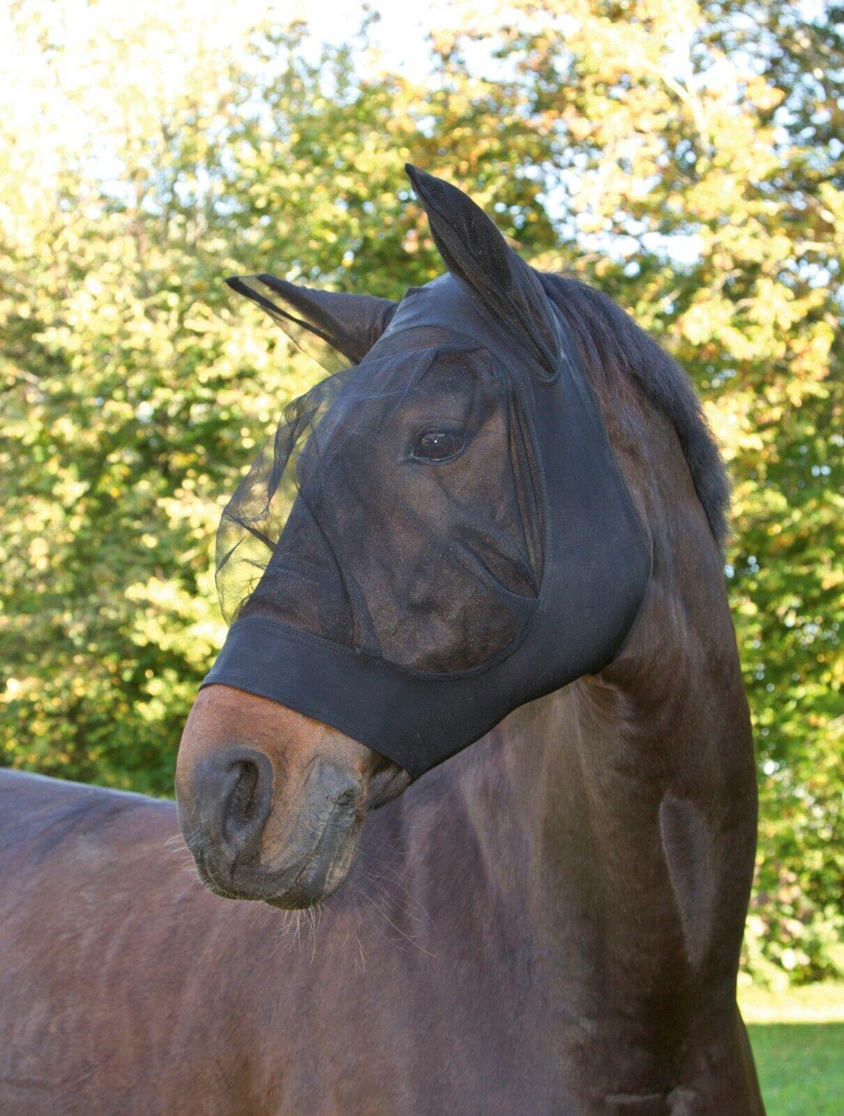 Fliegenschutzmaske Pferd FinoStretch, Full,Cob,Pony, Fliegenhaube schwarz o.blau