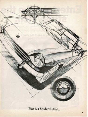 1969 Fiat 124 Spider Line Drawing art Automobile Car Vintage Ad