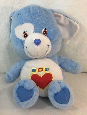 Care Bear Cousins Loyal Heart Dog Puppy Stuffed Plush Toy Blue Heart Badge 2004