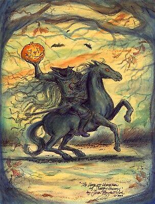 Halloween Sleepy Hollow (THE HEADLESS HORSEMAN OF SLEEPY HOLLOW Halloween Print Signed  JOHN RANDALL)