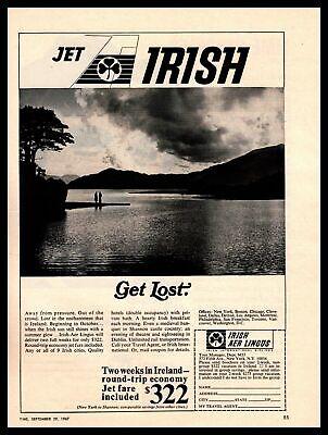 "1967 Irish Aer Lingus Airlines ""Jet Irish"" Ireland Vacation Package Print Ad"