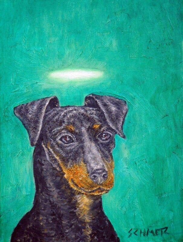 Manchester terrier angel dog 13x19 glossy  art PRINT animals artist gift