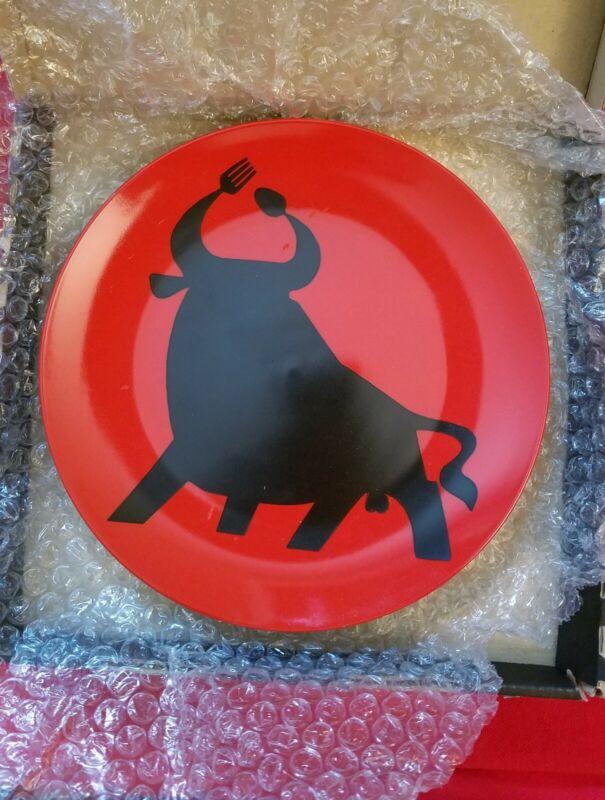 "BULL Toro Fork & Spoon horn (Damasco Para Cha-Cha) ceramic 8"" PLATE art"