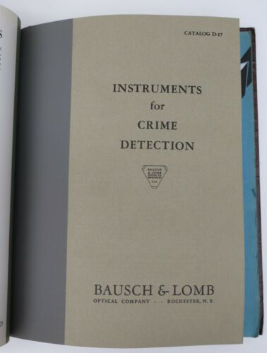 1930s binder with Bausch & Lomb catalogs, VERY CLEAN Crime Detection and more!
