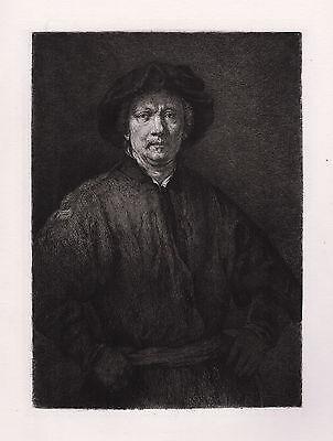 """Impressive 1800s REMBRANDT Antique Etching """"Rembrandt Self Portrait"""" Framed COA"""