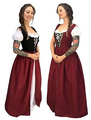 RENAISSANCE MEDIEVAL WENCH PRINCESS COSTUME SKIRT BODICE CHEMISE IRISH - Girls Renaissance Dresses