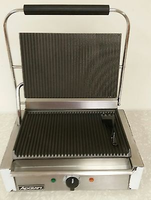 Adcraft Stainless Grooved Plate Panini Cuban Sandwhich Grill Single Sg-811eb