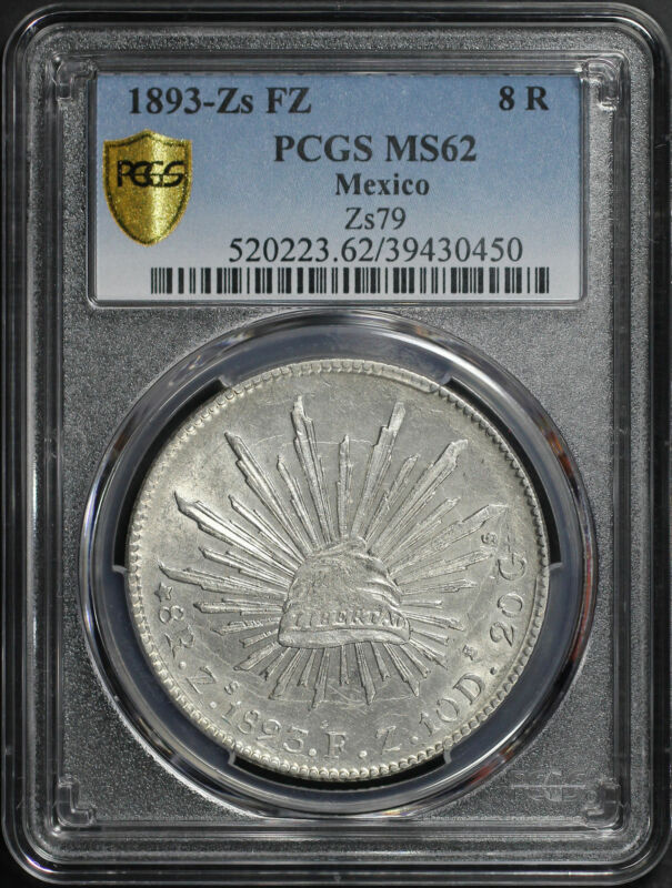 1893-Zs FZ Mexico Silver 8 Reales Zs79 PCGS MS-62