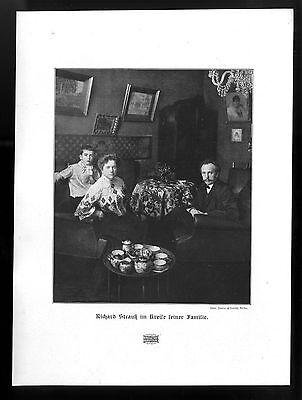 Richard Strauß im Kreise seiner Familie Der deutsche Komponist Kunstdruck v.1906