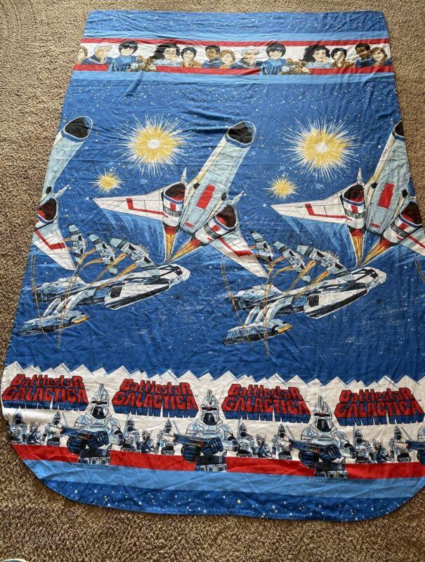 Vintage Battlestar Galactica Twin Flat Bed Sheet 1978 Original Series EUC