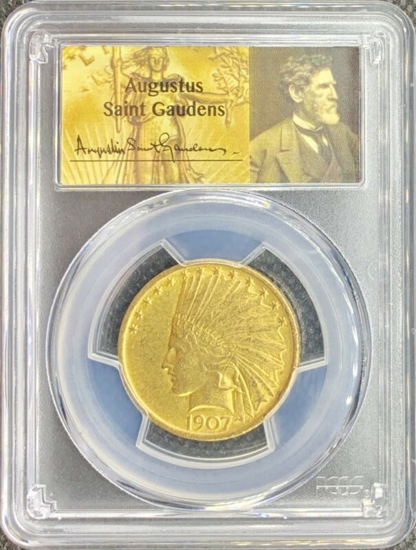1907 No Motto • $10 Gold Indian American Eagle • PCGS AU58 • SAINT GAUDENS Coin!