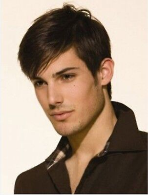 US Men's Layered Style Full Wigs Heat Reasistant wig Fashion Short Natural Hair
