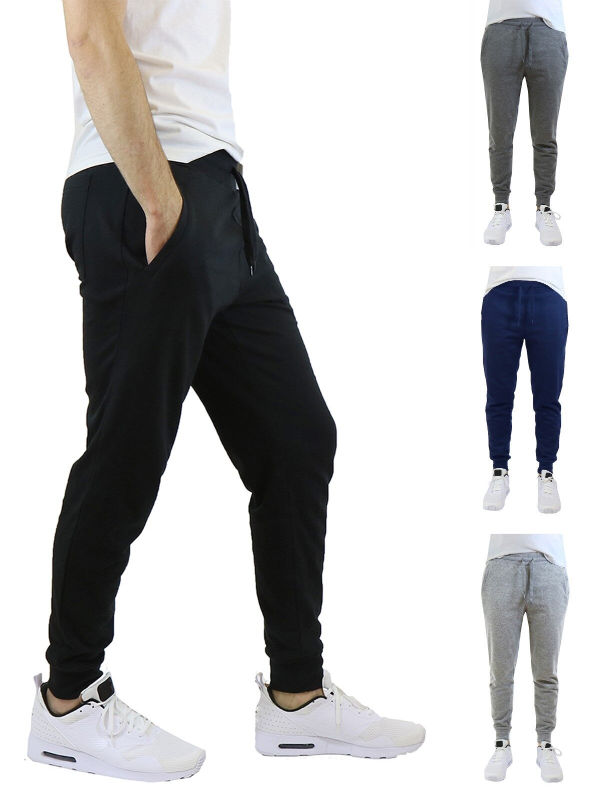 Mens French Terry Active Jogger Pants Sweatpants Lounge Sleep Gym S M L XL XXL Clothing, Shoes & Accessories