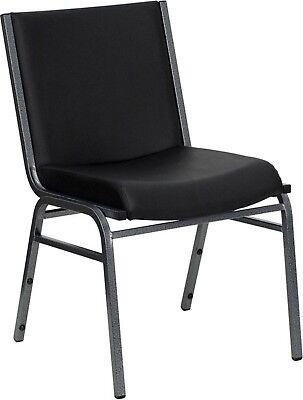 Vinyl Padded Stack Chair - Hercules Heavy Duty, 3'' Thickly Padded, Black Vinyl Upholstered Stack Chair