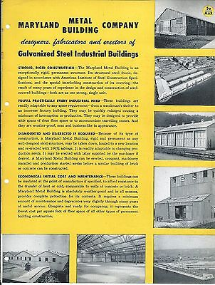 Mro Brochure - Maryland Metal - Galvanized Steel Buildings - C1952 Mr204