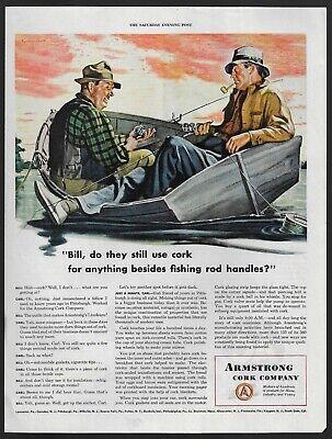 ARMSTRONG cork company men fishing boat sport art 325 1945 Vintage Print Ad