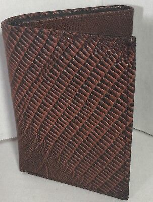 NEW MEN TRI-FOLD LIZARD EMBOSSED LEATHER WALLET BROWN CARD HOLDER GIFT FOR (Brown Embossed Leather Tri Fold)