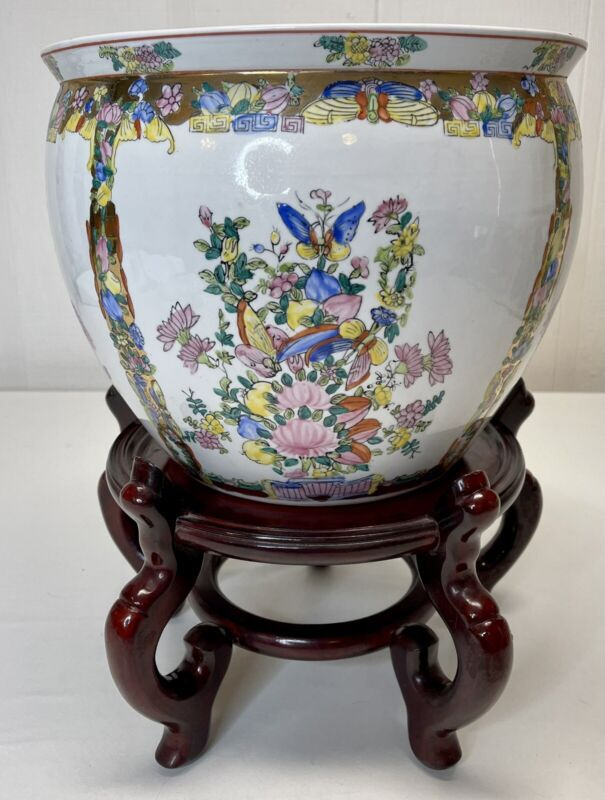 Chinese Famille Butterfly Floral Koi Fish Bowl White Noir Planter Jardiniere