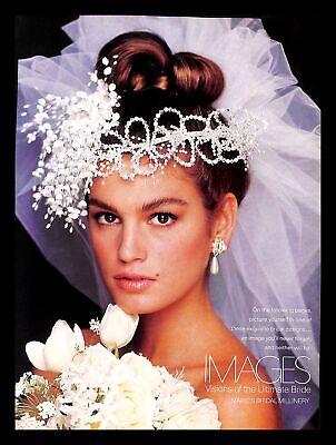 1988 Marie's Bridal Millinery Wedding Dress Vintage PRINT IMAGES Cindy Crawford