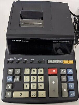 Sharp El-2196bl Basic Desk Calculator 12 Digit 2 Color Printer Adding Machine
