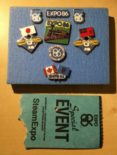 Set of 8 Vancouver Expo 1986 Pins W. SteamExpo Ticket Stub - Original & Vintage!