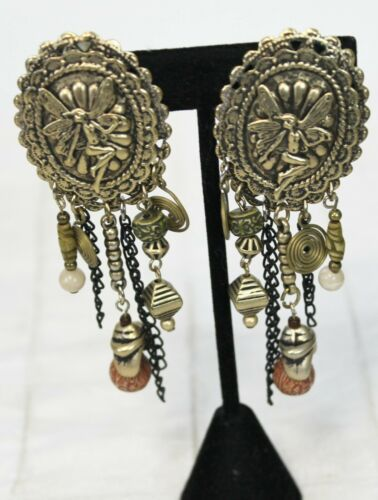 Large Fairy Earrings Dangle Clip On Costume Jewelry Medallion Artsy Hippie Show