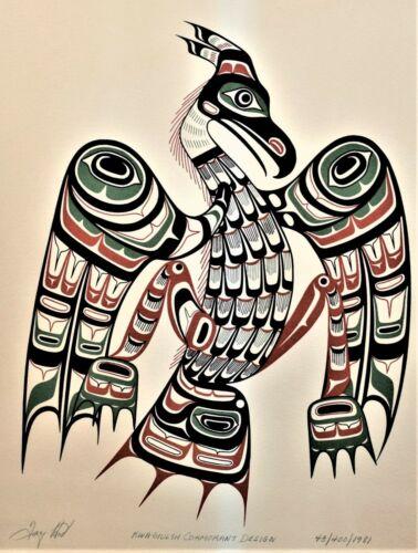 "Vintage ""Cormorant"" Handcut Silkscreen Print Northwest Coast Tony Hunt Kwakiutl"