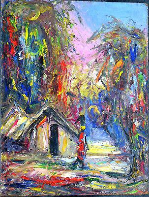 Ölbild,Afrikanische Malerei, Hütte mit Person,60ziger Jahre,Afrika