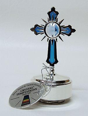G 4569 Silber Musikbox mit Kreuz Cross Swarovski Bleikristall Crystal 10, 5 cm